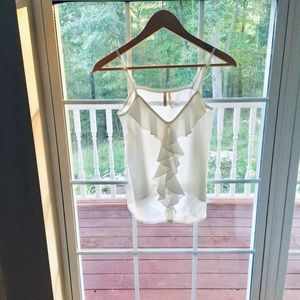 Frenchi White Sheer Top with Ruffle Front
